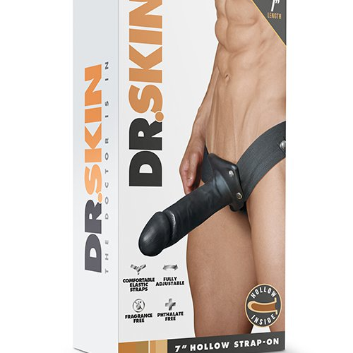 DR. SKIN 7INCH HOLLOW STRAP ON BLACK